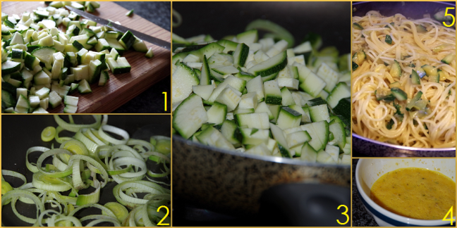 carbonara vegetariana di zucchine step by step DEF